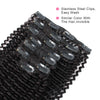Kinky curly clip in hair extensions jet black 22"
