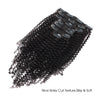 Kinky curl clip in extensions natural black 18"