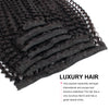 Kinky curly clip in hair extensions jet black 16"
