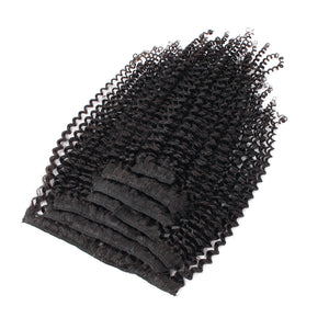 Kinky curl clip in extensions natural black 20"