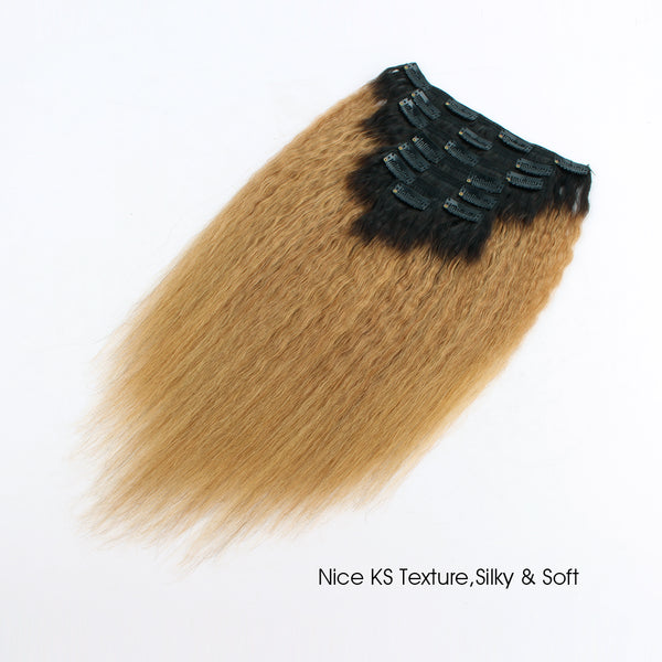 Clip in Hair Extension Kinky Straight Ombre Natural Black to Camarel Blonde