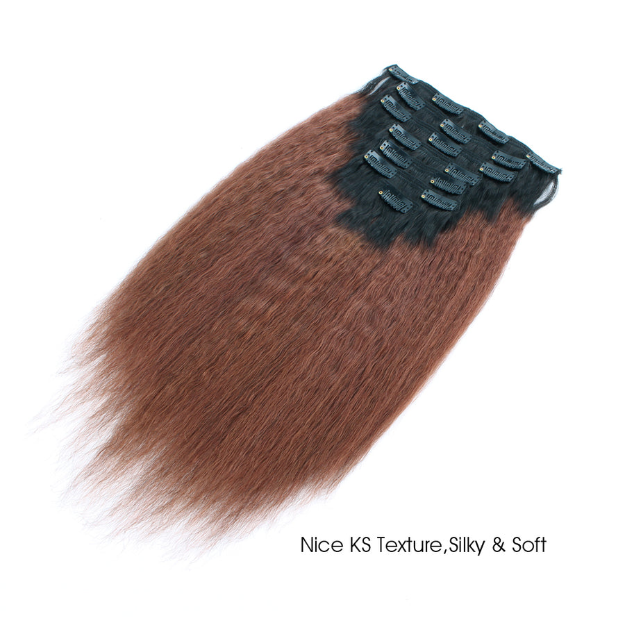 Clip in Hair Extension Kinky Straight Ombre Natural Black to Dark Auburn