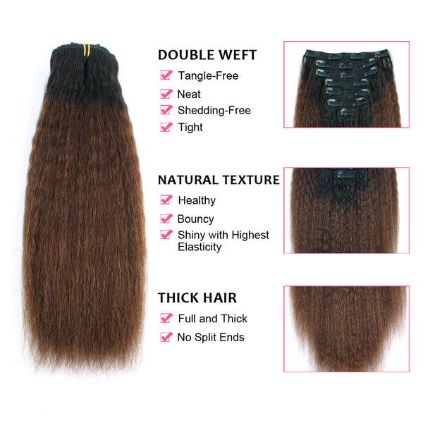 Clip in Hair Extension Kinky Straight Ombre Natural Black to Chocolate Brown
