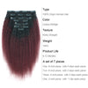 Clip in Hair Extension Kinky Straight Ombre Natural Black to Dark Wine