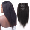 Kinky straight clip in hair extensions natural black 12"