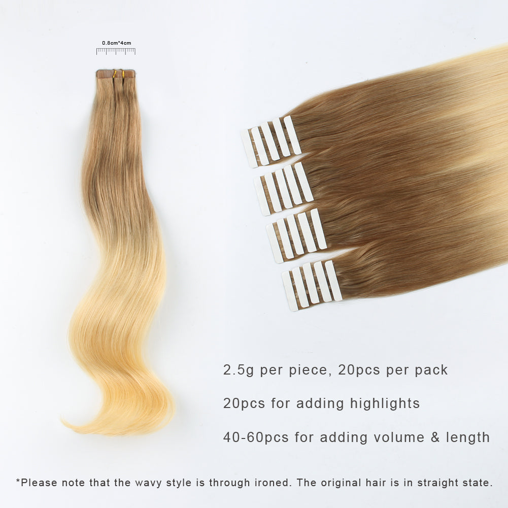 Tape In Hair Extension T10613 Medium Golden Brown Ombre Bleach Blonde