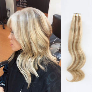 Tape In Hair Extension T#10/#613 Medium Golden Brown Ombre Beach Blonde