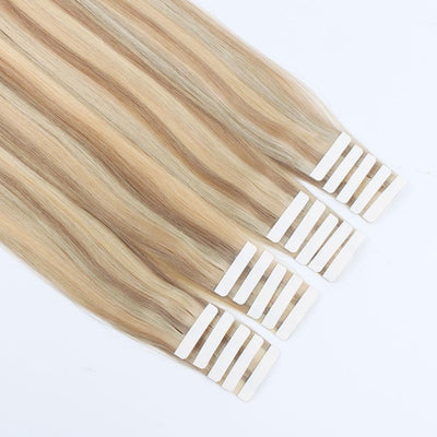 Tape In Hair Extension P #10/#16/#613 Golden Brown Highlights Blonde