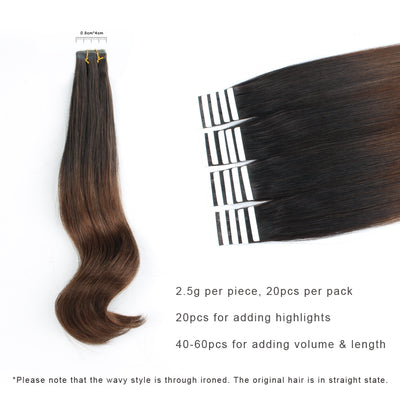 Tape In Hair Extension Ombre T#2/#4