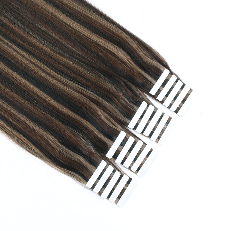 Tape In Hair Extension P #2/#4/#6 Dark Brown Highlights Chestnut Brown