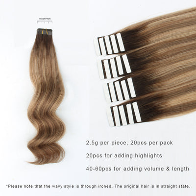 Tape In Hair Extension Rooted Highlights RP3-6/12