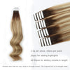 Remy tape in hair extensions rooted highlights #3-8/613|var-31549210296392