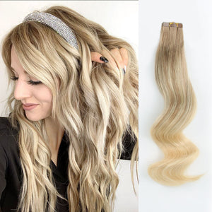 Tape In Hair Extension P #8/#60 Ash Brown Highlights Platinum Blonde