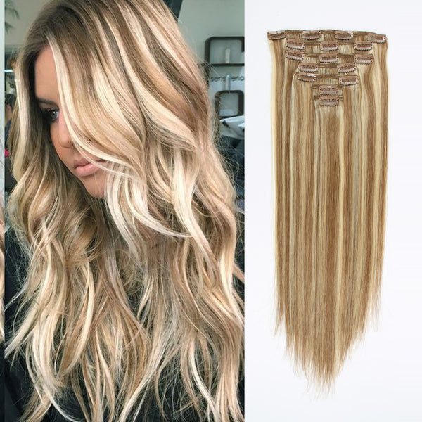 Clip in Hair Extension Balayage Bronde P#10/#613