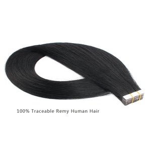 Remy tape in hair extensions #1 jet black|var-31548621455432