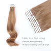 Remy tape in hair extensions #10 medium golden brown|var-31549208657992