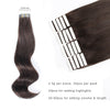 Remy tape in hair extensions #2 dark brown |var-31550917705800