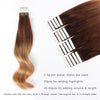 Remy tape in hair extensions ombre #3/12|var-31551458082888
