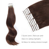 Remy tape in hair extensions #3 medium dark brown|var-31549208526920