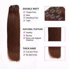 Clip in Hair Extension Medium Reddish Brown #4
