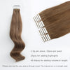 Remy tape in hair extensions #6 chestnut brown |var- 31550917804104