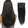 Straight clip in extensions natural black 12"