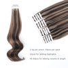 Tape In Hair Extension P #2/#6 Dark Brown Highlights Chestnut Brown
