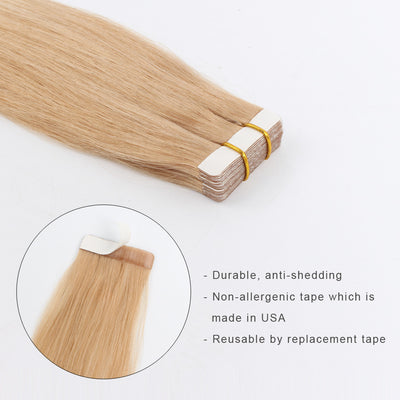 Tape In Hair Extension T #12/#60 Golden Brown Ombre Ash Blonde