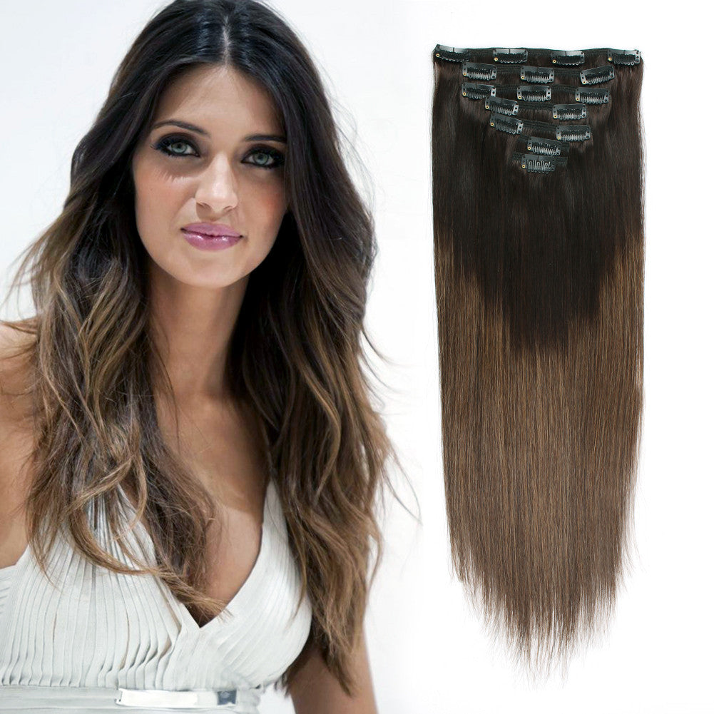 Clip In Hair Extension Brown Ombre T22m6 Amazingbeautyhairextensions
