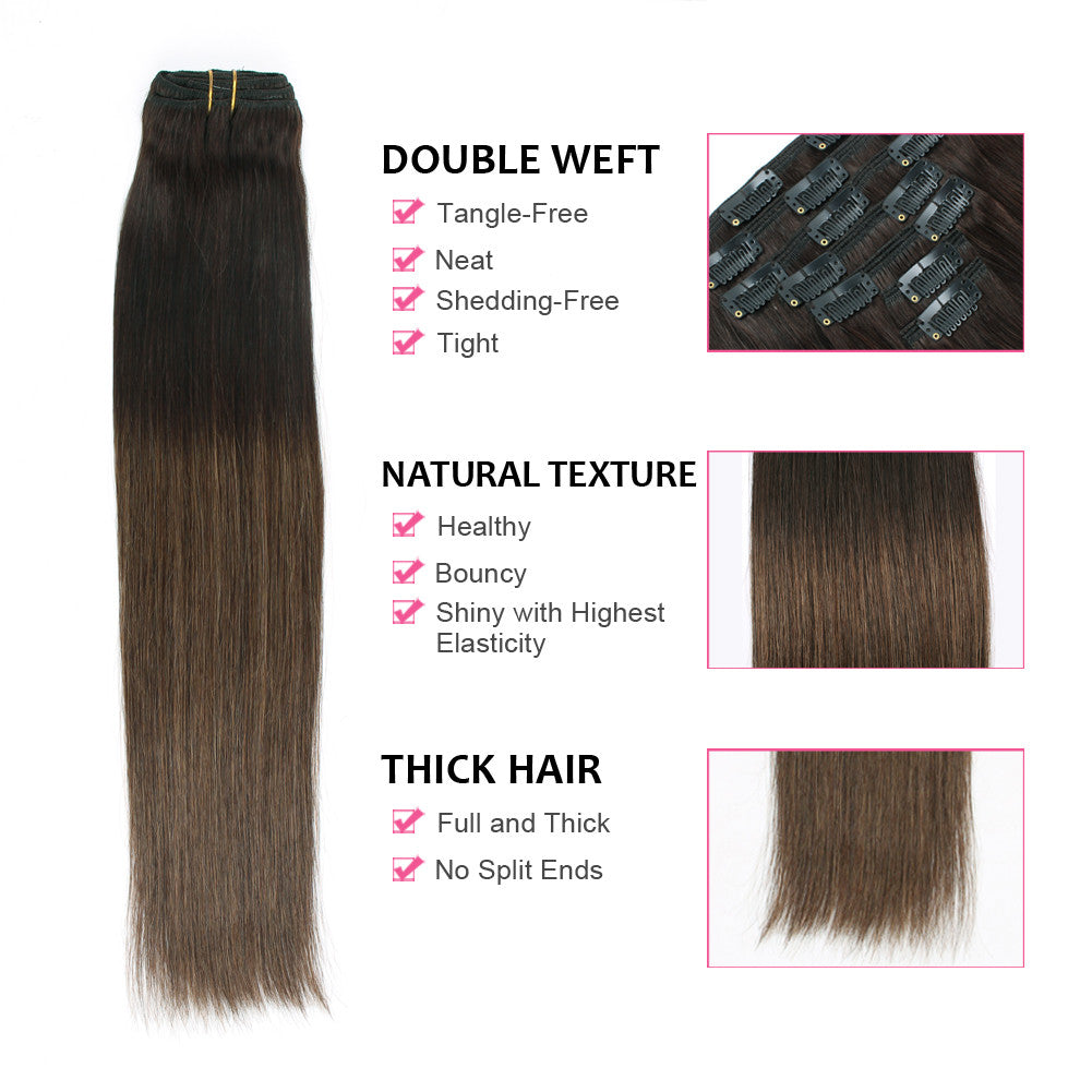 Clip In Hair Extension Brown Ombre T22m6