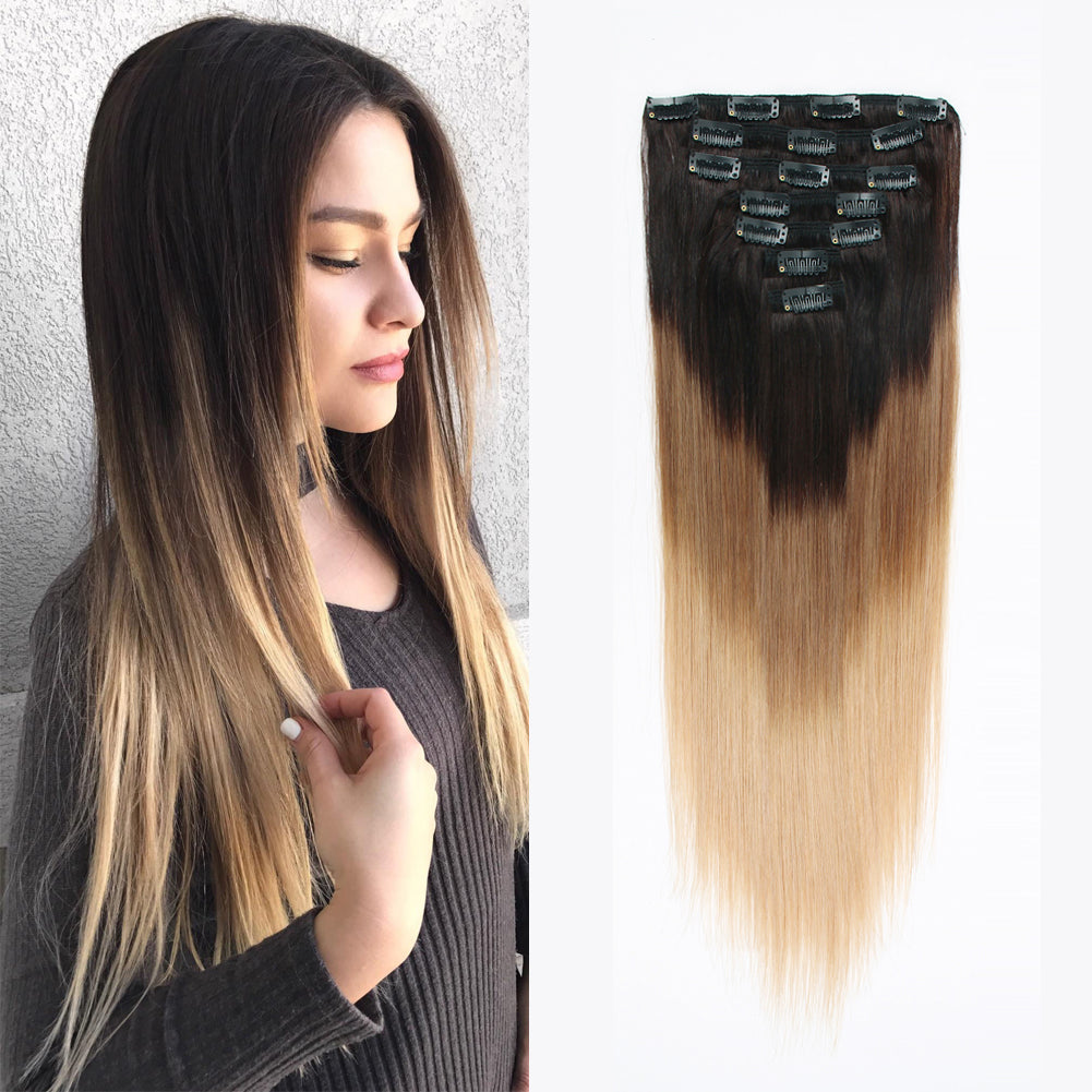 Clip In Hair Extension Brown To Blonde T2618