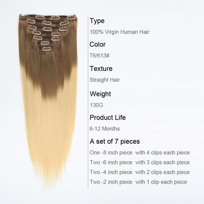 Clip in Hair Extension Ombre Bronde T#6/#613