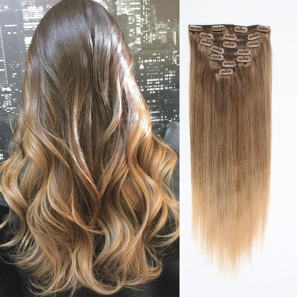 Clip in hair extension ombre brown blonde t4m18 next pmusecretfo Images