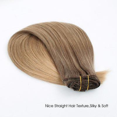 Clip in Hair Extension Ombre Brown Blonde T#4M#18