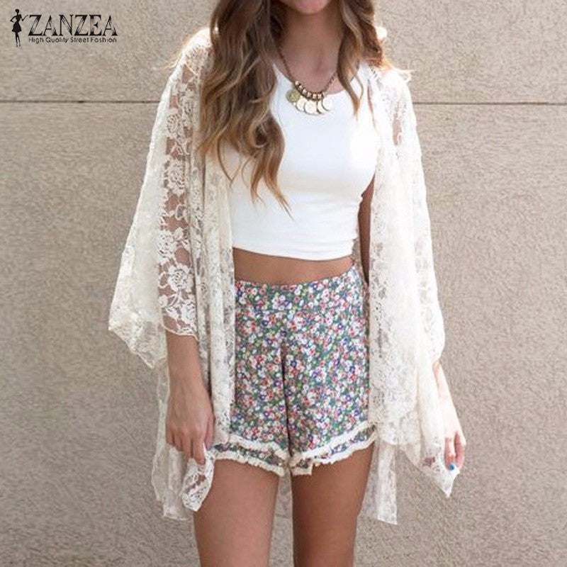 ZANZEA Fashion 2016 Women Kimono Cardigan Summer Lace Embroidery Sexy Hollow Out Blouses Shirts Beach Outerwear Blusas