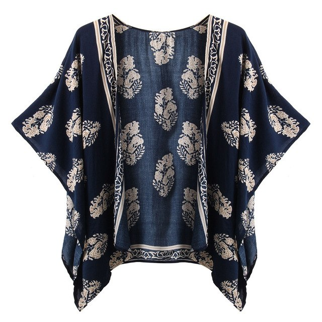 2015 Summer Style Women Vintage Casual Loose Bat Half Sleeve Blouses Tops Print Kimono Cardigan Coats Outwear Plus Size S-4XL