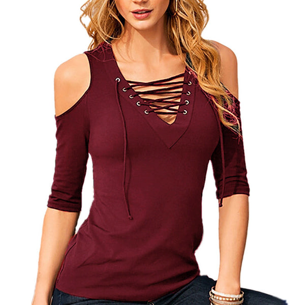 Lace Up Cold Shoulder 3/4 Sleeve Collection