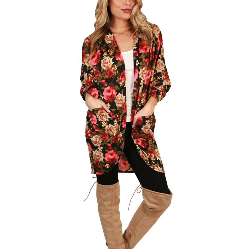 Feitong Women Boho Floral Print Blouse 2017 Autumn New Arrival Long Style Coat Open Stitch Outwear kimonos de mujer verano