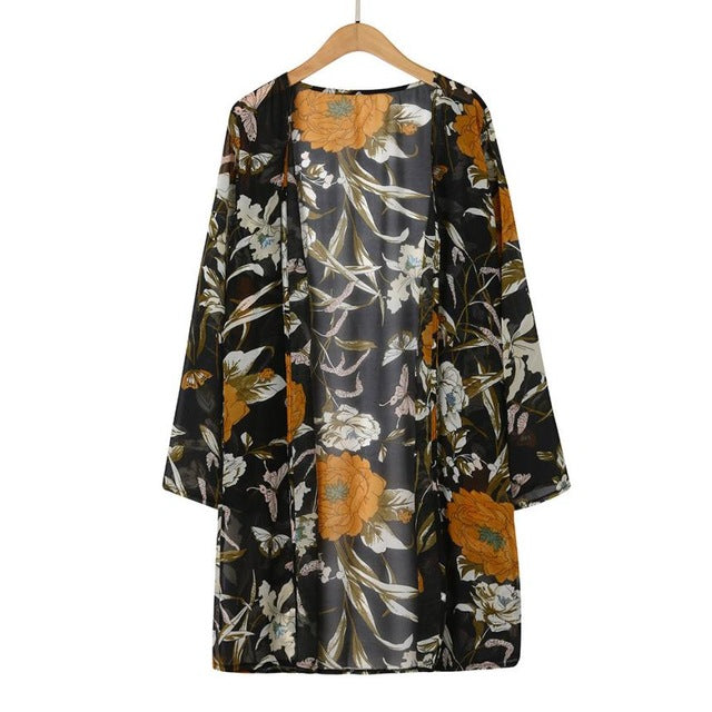 Women Floral Print Blouse Long Chiffon Shoet Sleeve Cardigan Tops Summer kimono Cardigan