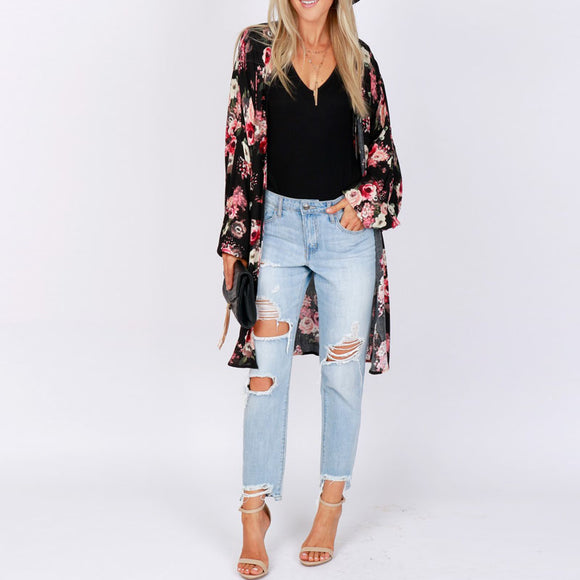 ZANZEA Summer Women Boho Floral Printed Long Sleeve Loose Chiffon Cardigan Casual Beach Kimono Baggy Open Front Blouse Plus Size