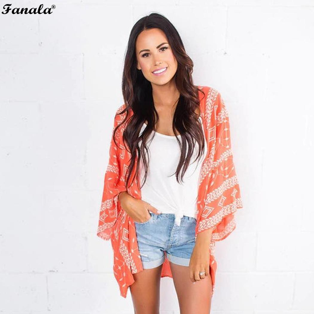 Swimsuit Chiffon Floral Printed Sun Protection Women Cover Up Kimono Cardigan