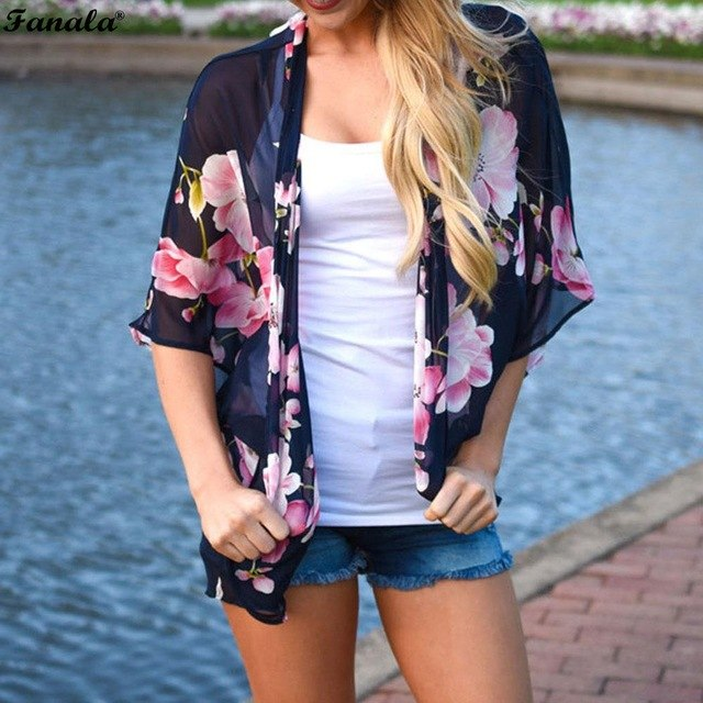 Front 3/4 Sleeve Kimono Style Chiffon Cardigan Floral Women Open Beach Tops
