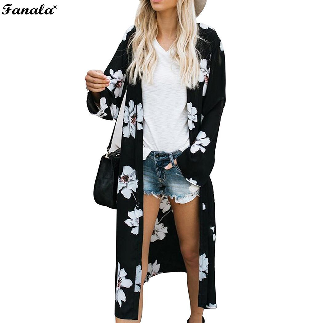 Long Blouse Women Kimono 2018 Casual blusas mujer womens tops and blouses Summer Sleeve Floral Print Chiffon Top Cardigan