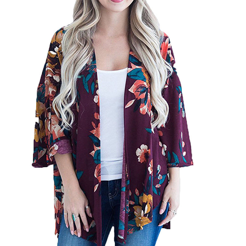 2018 Summer Women Floral Printed Blosue Cardigan Casual Loose Tops V Neck Split Short Kimono Shirt Boho Blusas Bat Sleeve Blusa