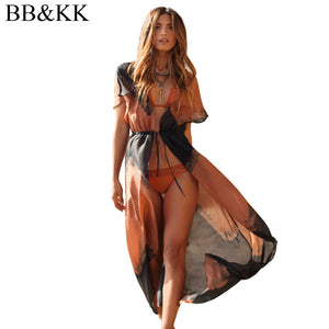 Summer Style Women Print Chiffon Blouse Long Kimono Cardigan Beach Cover Ups Casual Sexy Beachwear Shirt Outerwear