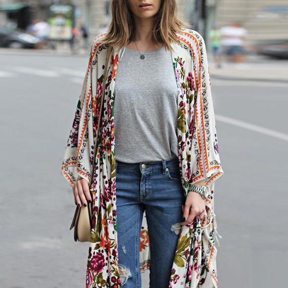 Women Floral Printed Shawl Kimono  Cardigan 2018 New Arrival Fashion Female Boho Long Streetwear Chiffon Blouse Hot Sale