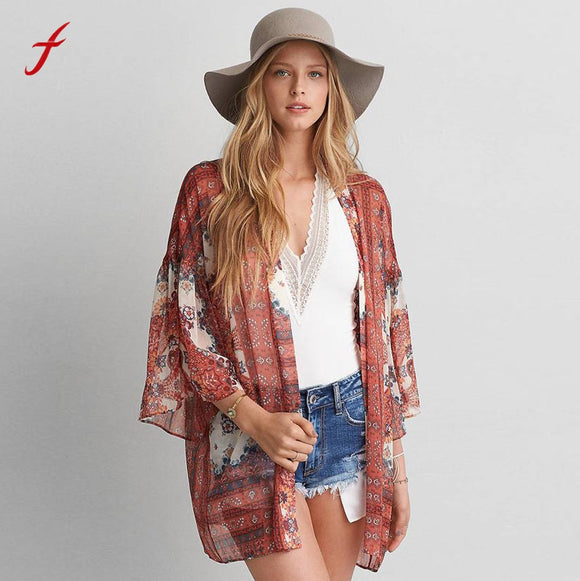 2019 fashion kimono cardigan casual summer blusa manga comprida feminina sexy women shirts and brands printing tops