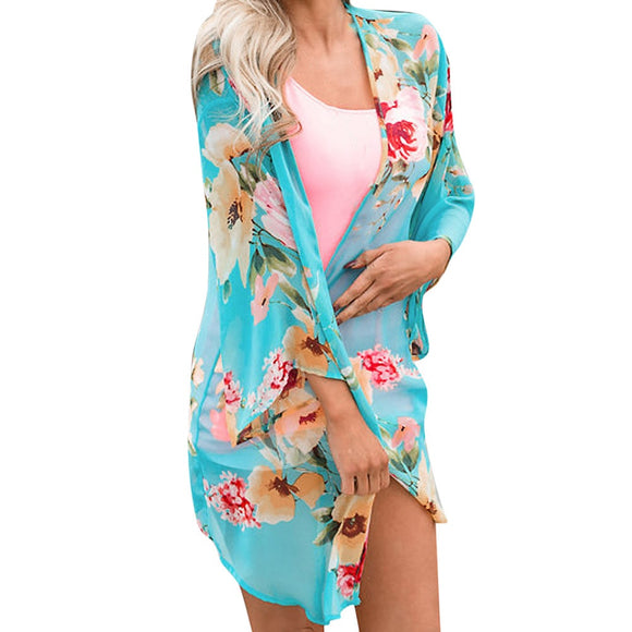 Plus Size Kimono Cardigan Womens Tops and Blouses 2018 Boho Floral Print Shirts Tunic Beach Ladies Top for Womens Clothing