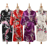 Woman Loose Style Pajamas Home Sleep Wear Lace Up Peacock Print V-neck Night Gown Japanese Kimono Yukata Bathing Robe