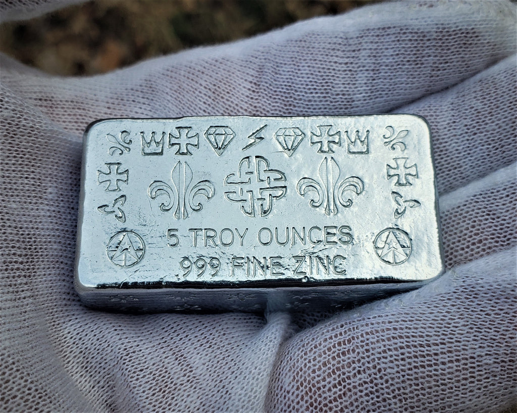 5 Troy Ounce .999 Fine Zinc Rune Bar